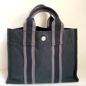 Hermes Tote Canvas Fourre Tout PM Bag Basket Blue